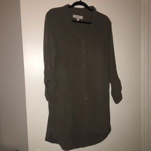 Button up army green dress/tunic Large